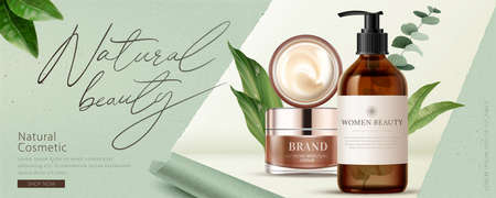 Illustration pour Ad banner for natural beauty products, decorated with ripped paper effect and natural leaves, concept of simple skincare, 3d illustration - image libre de droit