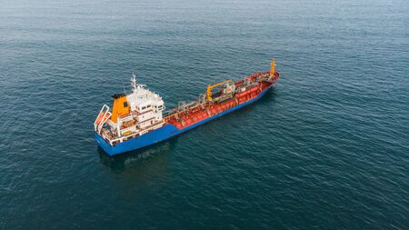 Photo pour Aerial view of an oil and chemical tanker waiting at sea - image libre de droit