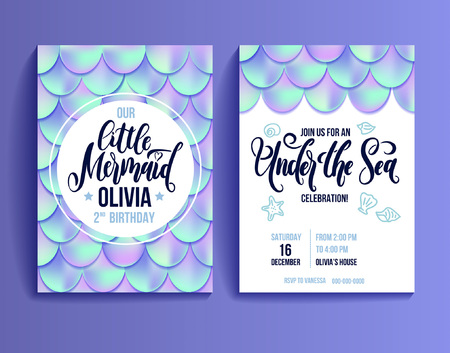 Illustration pour Birthday Party Card for little girl. Holographic fish scales and lettering invitation. Sea party invitation. Vector illustration - image libre de droit