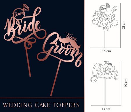 Ilustración de team Bride and team Groom cake toppers for laser or milling cut. Wedding rose gold lettering. Vector illustration - Imagen libre de derechos