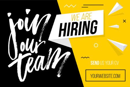 Ilustración de Hiring recruitment design poster. We are hiring brush lettering with geometric shapes. Vector illustration. Open vacancy design template. - Imagen libre de derechos