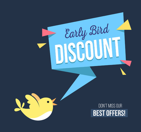 Illustration pour Early bird discount banner with cute bird and geomethic shapes. Promotional design template on blue background with doodles. Vector illustration - image libre de droit