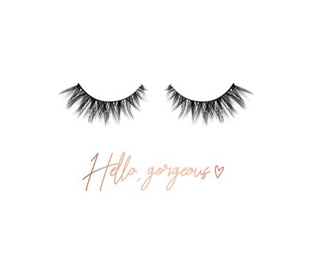 Illustration pour Hello gorgeous lashes inspirational design with lettering and eyelashes. Feminine inspirational print. Vector illustration. - image libre de droit