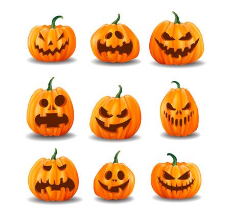 Illustration pour Set of realistic Halloween pumpkins isolated on white background. Vector illustration. - image libre de droit