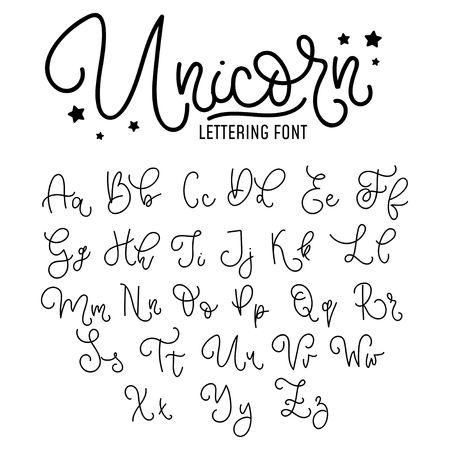 Illustration pour Unicorn hand drawn font design. Cute alphabet with flourish details. Vector unicorn alphabet. - image libre de droit