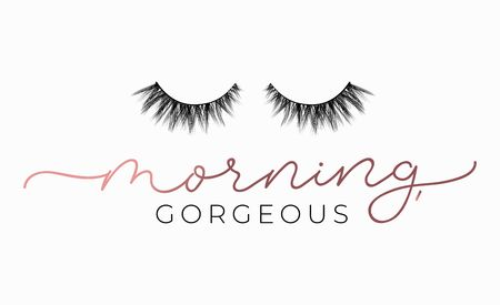 Illustration pour Morning gorgeous poster or print design with lettering and lashes. Luxury design for inspirational posters or greeting cards. Vector lettering card. - image libre de droit