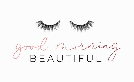 Illustration pour Good Morning beautiful poster or print design with lettering and lashes. Luxury design for inspirational posters or greeting cards. Vector lettering card. - image libre de droit