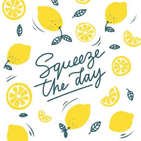Foto de Squeeze the day inspirational card with doodles lemons, leaves isolated on white background. Colorful illustration for greeting cards or prints. Vector lemon illustration - Imagen libre de derechos