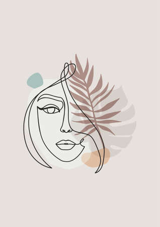 Illustration for Abstract design with one line art woman's face silhouette, palm leaves and abstract shapes.Continuous line art vector illustration in trendy colors.Elegant minimalistic geometric design with human face - Royalty Free Image