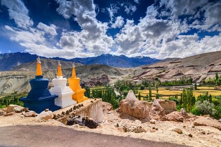 Three colourful buddhist religious stupas at Leh Ladakh Jammu and Kashmir India