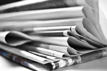 Photo for Stack of old folded newspapers, selective focus - Royalty Free Image