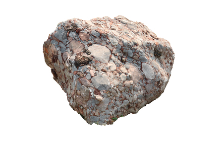 Foto de Natural specimen of conglomerate - sedimentary rock composed of rounded or sub-rounded gravel and pebbles cemented by calcium carbonate, isolated on white background High resolution image gallery. - Imagen libre de derechos