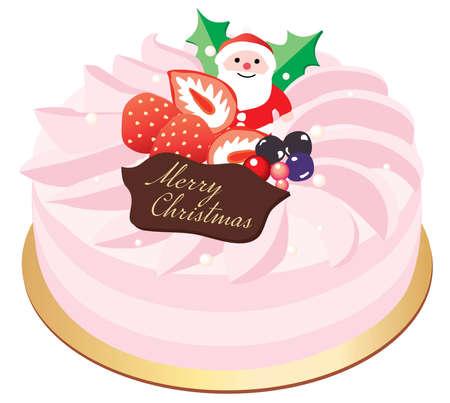 Illustration pour A pink Christmas cake with the decoration of Santa - image libre de droit