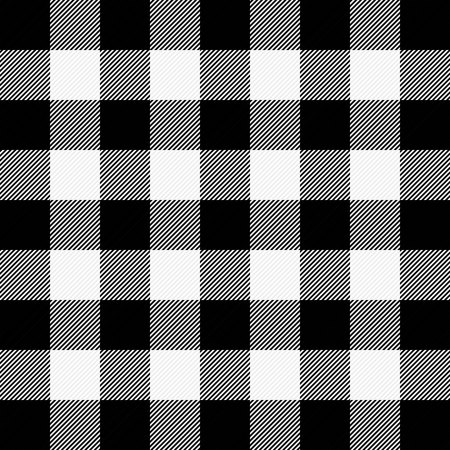 Ilustración de Lumberjack plaid. Scottish pattern in white and black cage. Scottish cage. Buffalo check. Traditional scottish ornament. Seamless fabric texture. Vector illustration - Imagen libre de derechos