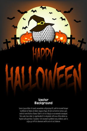 Illustration pour Halloween pattern. Golf ball with witch hat, pumpkins, flying bats and crosses on the background of the moon. Pattern for banner, poster, greeting card, party invitation. Vector illustration - image libre de droit