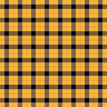 Illustration for Halloween Tartan plaid. Scottish pattern in orange, black, yellow and gray cage. Scottish cage. Traditional Scottish checkered background. Seamless fabric texture. Vector illustration - Royalty Free Image