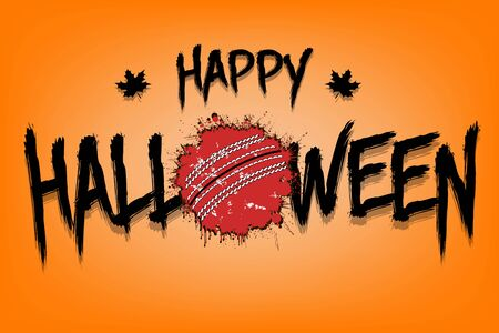 Illustration pour Happy halloween and cricket ball of blots. Design pattern for banner, poster, greeting card, flyer, party invitation. Halloween holiday. Grunge style. Vector illustration - image libre de droit