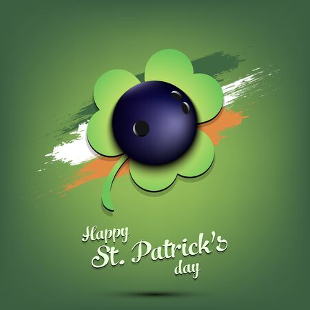 Illustration pour Happy St. Patrick's day. Bowling ball and clover against the background of the Irish flag. Pattern for banner, poster, greeting card, party invitation. Vector illustration - image libre de droit