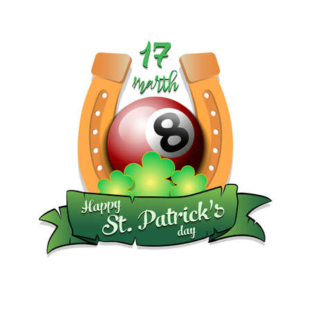 Illustration pour Happy St. Patricks day. Horseshoe, clovers and billiard ball in leprechaun hat on an isolated background. - image libre de droit