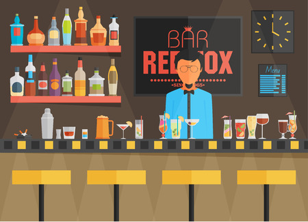 Bar counter with barman, stools and alcohol drink on shelves flat vector illustration