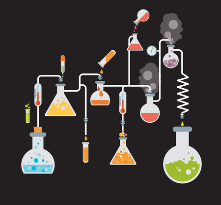 Chemistry infographics template showing various tests being conducted in laboratory glassware using colorful chemical solutions and reactions on a grey background conceptual of science and industry