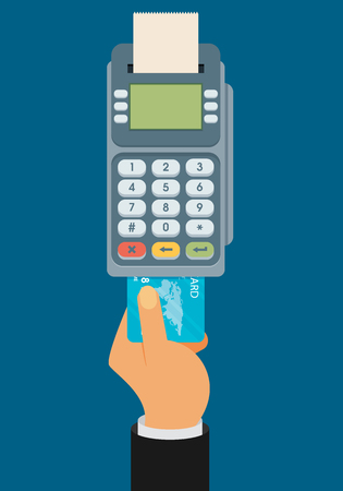 Illustration pour Hand pushing credit card into the pos terminal. Flat style - image libre de droit