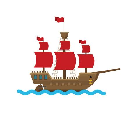Illustration pour Flat vector ship in sea - image libre de droit