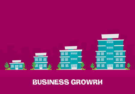 Illustration pour Growth of business. Buildings of company small, middle and big. Flat vector. - image libre de droit