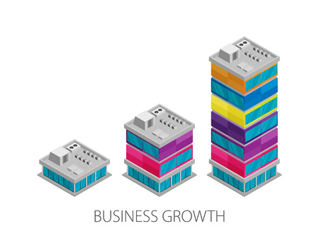 Illustration pour Growth of business. Buildings of company small, middle and big. Flat vector isometric - image libre de droit