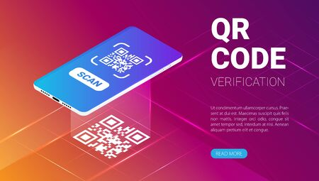 Photo pour QR code verification service web banner isometric vector - image libre de droit