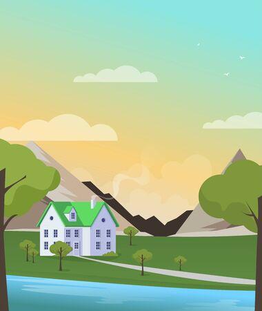 Illustration pour Family home in flat style. Vector illustration. - image libre de droit