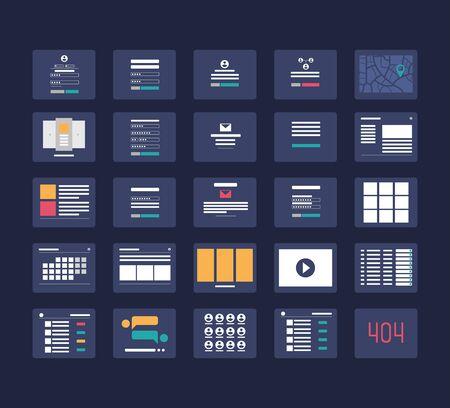 Illustration pour Flowchart cards for website structure planning vector illustration. - image libre de droit