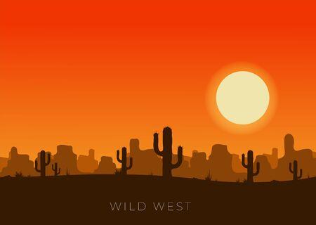 Illustration pour Western desert landscape at sunset vector illustration. - image libre de droit