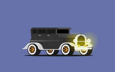 Illustration pour Flat vector retro car isolated on color background - image libre de droit