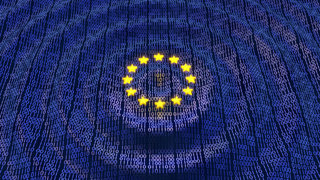 Foto de European Union Data Protection bits and bytes in ripple waving pattern with glowing EU stars - Imagen libre de derechos