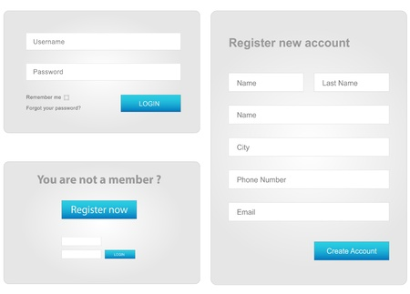 Photo pour login and register web form - image libre de droit