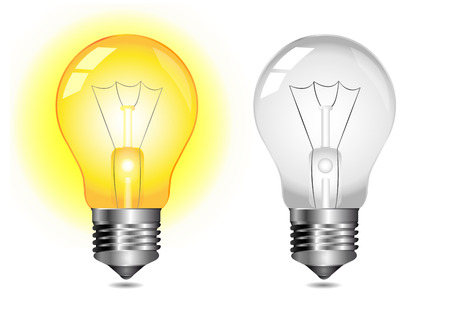 Glowing light bulb icon - on   off