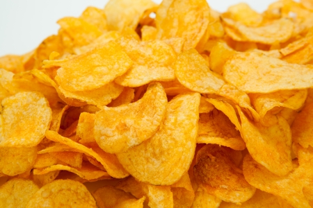 handful of potato chips close-up