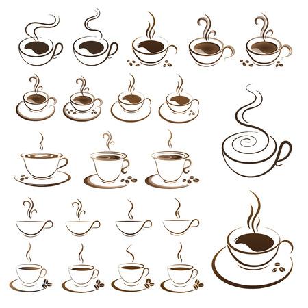 Illustration pour clipart set hot coffee cup vector on a white background - image libre de droit