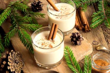 Photo pour Eggnog with cinnamon for Cristmas and winter holidays - image libre de droit