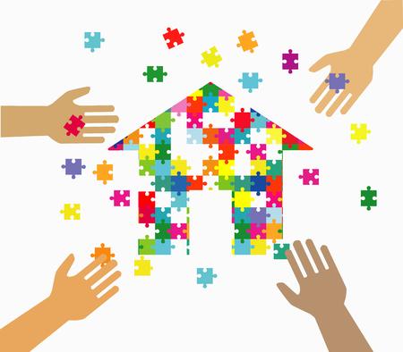 Ilustración de Four hands putting multicolor puzzle pieces together. Teamwork, cooperation, business, solution, work concept. - Imagen libre de derechos