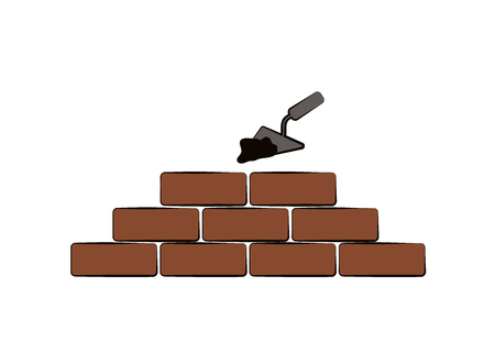 Illustration for Vector design of building. Bricks, tools and cement. - Royalty Free Image
