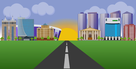Flat vector cartoon style illustration urban landscape street with skyline city