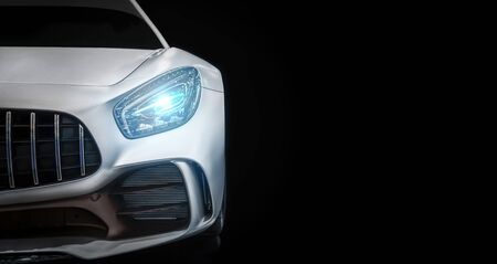 Photo for Modern luxury new white sport car , close-up a head light with your space - Royalty Free Image