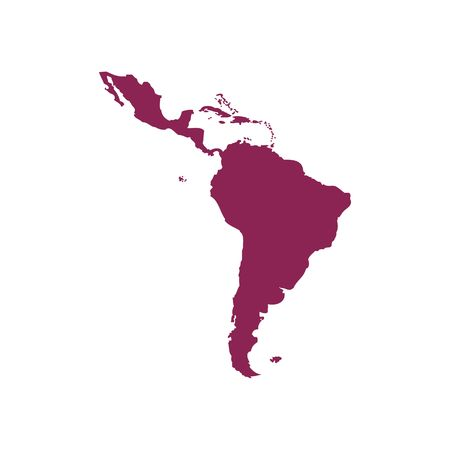 Illustration pour Purple Latin America map silhouette vector illustration isolated on white backgorund. - image libre de droit