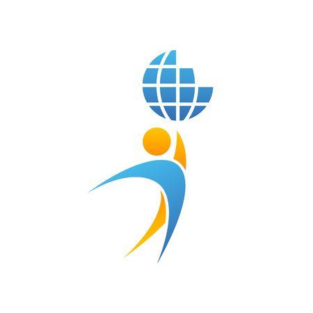 Illustration pour Globe logo man hands up planet together, achievement success creative idea, save Earth emblem mockup vector illustration isolated on white background - image libre de droit