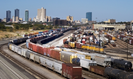 Train Yard Showing Fort Worth,Texas Skyline.