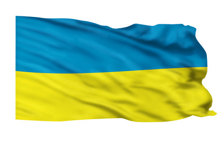 Ukraine flag flying high in the sky.