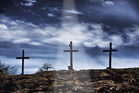 Photo for The old rugged wooden cross of the christian church. - Royalty Free Image