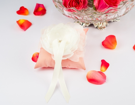 Beautiful pillow for wedding rings with rose petals